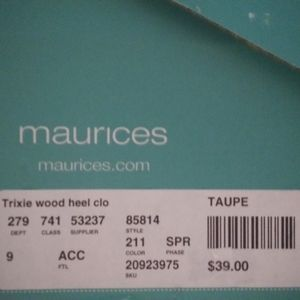 Maurices taupe wood heel open toe shoes